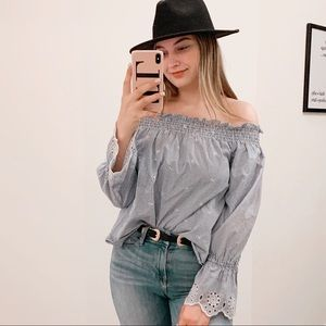 URBAN OUTFITTERS OFF SHOULDER EYELET TOP